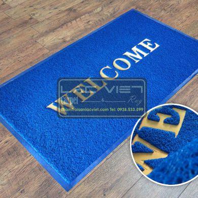 Thảm nhựa welcome màu xanh