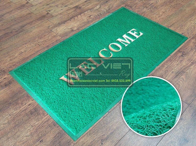 Thảm chùi chân welcome xanh lá