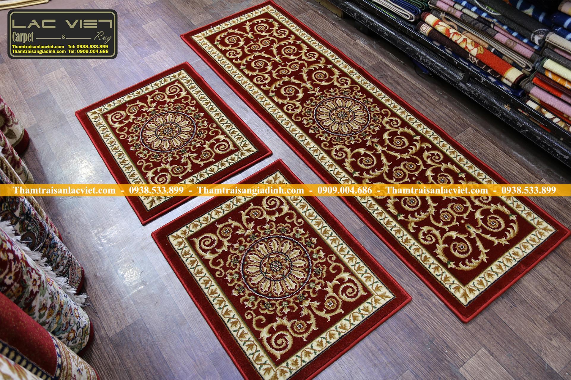 Thảm Trải Ghế Cao Cấp Hoa Móc Cổ điển Đặt Theo Yêu Cầu 5326-Đỏ