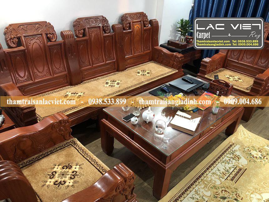 Thảm Ghế Len Dệt Thủ Công Cho Sofa Gỗ Hộp Như Ý Tay Voi